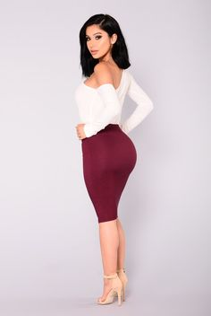 Constance Pencil Skirt - Burgundy #fashionnova