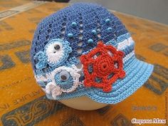 crochet cute caps and hats for your baby Crochet Flower Hat, Flower Hats, Crochet Lace, Crochet Stitches, Crochet Patterns, Crocheted Hats, Childrens Crochet Hats, Crochet Baby Clothes, Crochet Bracelet