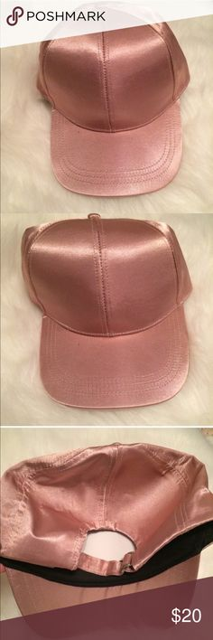 Pink satin baseball cap nwot ASOS adjustable cute Super cute baseball cap from ASOS. It's a satin material. New without tags but still has the lining on the inside that I bought with it. Adjustable in the back. Light pink. ASOS Accessories Hats