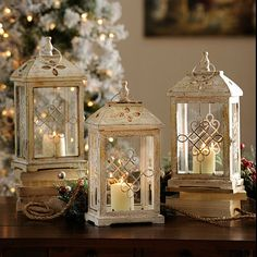 Antique Cream Wood Lantern, 16.75 in. | Kirkland's @Marisa Bunney  Love these! These would be bigger! And they're more Ivory than white.