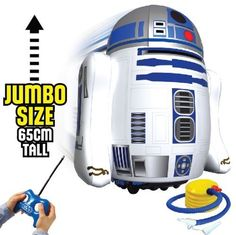 Star Wars Pump & Play Jumbo Inflatable Remote Controlled R2-D2 by Bladez Toyz. $39.99. Easy controls and safety aerial on handset allows anyone of any age to operate. Tri band operation up to 3 units can be driven at once Range up to 8m Indoors and outdoors use Requires 1x9V battery for handset and 4xAA battery for drive unit (not included) Jumbo size for fun interactive play Suitable for 3 years and above Officially licensed Brand new. Save 50%!