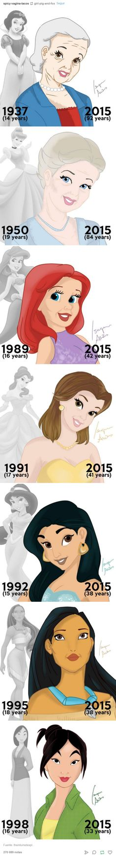 Disney Princesses if they aged with the movie