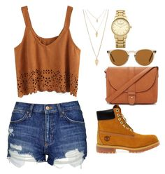 """""""how to wear Timberland boots"""" by karlamichell on Polyvore featuring Topshop, Timberland, Forever 21 and Oliver Peoples"""
