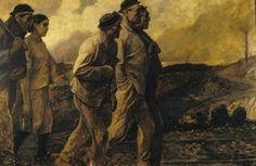 """Constantin Meunier : Miners going home /  """"De terugkeer van de mijnwerkers"""". Brussel, Koninklijke Musea voor Schone Kunsten van België, inv. 10000 / 173"""
