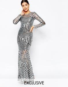Club L - Maxi robe effet traîne ornée de sequins