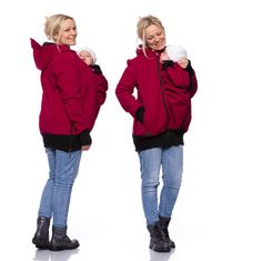 Viva la Mama | Baby Carrying Softshell Jacket AVENTURO (3in1- bordeaux red, water-repellent, windproof) . Outdoor jacket for pregnancy, maternity, baby wearing and everyday use. No worries about the blanket not covering toes or fingers! :)