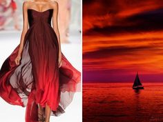 Fashion & Nature in Photography: Russian artist Liliya Hudyakova compares famous designers' dresses with nature. - Elie Saab S/S 2014 & Sunset. - Elie Saab S/S 2015 & Oceanscape. - Elie Saab F/W. Monique Lhuillier, Fashion Paintings, Elie Saab, World Of Fashion, Fashion Art, Fashion Trends, Pink Lake, Haute Couture Dresses, Christian Siriano