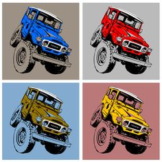 Toyota Fj40, Car Colors, Car Images, Car Painting, Toyota Land Cruiser, Caricature, Monster Trucks, How To Draw Hands, Logo Design