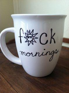 FCK mornings Coffee Mug 14oz by ChantillyStay on Etsy, $13.00
