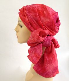 Watermelon Pink Turban Hat Head Wrap Alopecia Scarf by TurbanDiva, $59.95