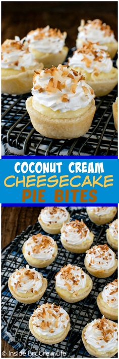 Coconut Cream Cheesecake Pie Bites - these easy mini pies are packed with creamy coconut goodness. Great dessert recipe for fall dinner parties!