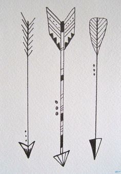 "Three Little Arrows in Black and White, 5""x7"". Watercolor & Illustration Pen on Watercolor Paper. www.etsy.com/shop/kateykpaintandclay"