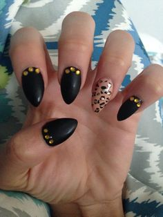 Got my claws done. New nail design, pointed nails, cheetah, matte black, black and gold