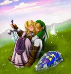 Zelda and Link together all snuggily!