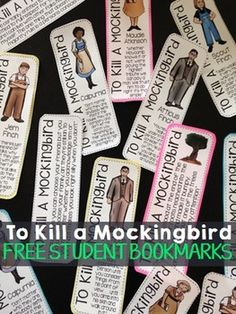 Print out these FREE bookmarks for your students, as you read Harper Lee's popular novel, To Kill a Mockingbird. These bookmarks are a fun addition to any novel study and a great way to get your students introduced to some of the more well-known characters and quotes.