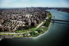 An aerial view of the Blueway and East River Park