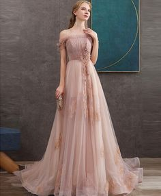 Pink tulle lace long prom dress pink lace evening dress The Dress Bridal Prom Dresses Long Pink, Pink Party Dresses, Homecoming Dresses, Pink Dress, Lace Dress, Formal Dresses, Elegant Dresses, Grad Dresses, Prom Gowns