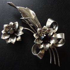 Sterling Silver Brooch Rhinestones,Vintage Necklace Pendant, Flower Bouquet Garnet Colored Stones