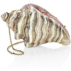 Judith Leiber Couture Conch Shell Crystal Clutch ($5,495) ❤ liked on Polyvore featuring bags, handbags, clutches, judith leiber, metallic purse, metallic clutches, white purse, handbag purse and white handbag
