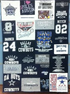 Dallas Cowboys T-shirt Quilt  www.sheezabizzyquilter.etsy.com