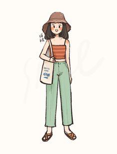 Cartoon Girl Drawing, Girl Cartoon, Cartoon Drawings, Cute Art Styles, Cartoon Art Styles, Dibujos Cute, Korean Art, Aesthetic Drawing, Cool Art Drawings