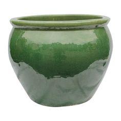 "Oriental Furnishings - 20"" Ceramic Oriental Fishbowl Planter in Jade Green or Bird Egg Brown Glaze"
