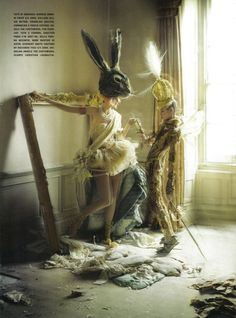 One of my very favorite photographers, Tim Walker, is back with another fanciful feast for the eyes! The new editorial, title Lady Gray, looks like it was inspired by the movie of the moment, Alice in Wonderland. Set in what seems like an old, abandoned mansion, models Stella Tennant and Imogen Morris Clarke pose gracefully around ladders and drapes. Lovely.            Lady Gray can be found in Vogue Italia's March 2010 issue. via [Refinery 29]
