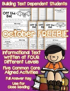 This informational text FREEBIE has a full week of activities along with differentiated reading.  The passage is written at four levels that range from high first to mid fifth grade.  This gift to you can be used for standards based grading, weekly homework, guided reading, or quick formative assessments.