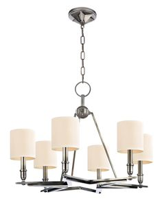 Star shaped chandelier.  Six Light Aged Silver Drum Shade Chandelier  | Newton Electrical Supply