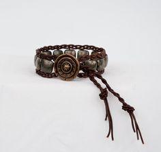 Brown Wrap Bracelet Pyrite Bracelet Brown by LLDArtisticJewelry, $34.95