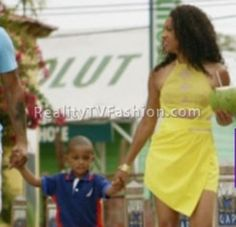 Tara Wallace's Yellow Lace Cut-Out Dress in Barbados #LHHNY