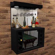 Foto 1 - Barzinho Cristaleira Com  Adega Para 8 Garrafas E Porta Taça Com Iluminação Em Led - Bar02