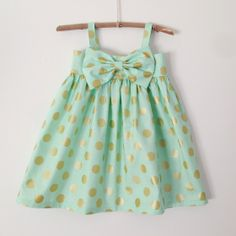 Baby Clothes - Mint Dress with Gold Dots