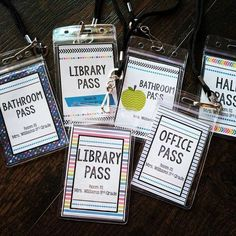 Need handy hall passes for your classroom?! These passes are perfect for lanyards and name badges. Classroom management, classroom set-up, beginning of the year