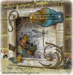 Addicted to Art: Country View Crafts - Bugs, Bees and Butterflies using Tim Holtz, Ranger, Sizzix and Stamper's Anonymous products; Mixed Media Collage, Mixed Media Canvas, Collage Art, Altered Canvas, Altered Art, Altered Tins, Decoupage, Arte Country, Assemblage Art