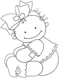 riscos desenhos pintura fraldas bebes ~ applique or let the kids color it Hand Embroidery Patterns, Applique Patterns, Embroidery Applique, Embroidery Designs, Coloring Sheets, Coloring Books, Coloring Pages, Colouring, Motifs D'appliques