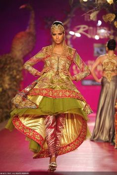 Chartreuse and pink churidar suit by Ritu Beri at Delhi Couture Week 2013.