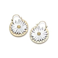 Tiffany Outlet Nature Daisy Hoop Silver Earrings