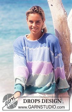 """DROPS 29-13 - DROPS jumper with wide stripes in """"Muskat - Free pattern by DROPS Design"""