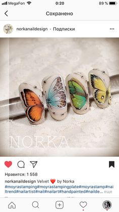 Velvet ❤ by Norka… Animal Nail Designs, Butterfly Nail Designs, Butterfly Nail Art, Velvet Nails, Velvet Painting, Basic Nails, Nail Art Techniques, Nails First, Easter Nails
