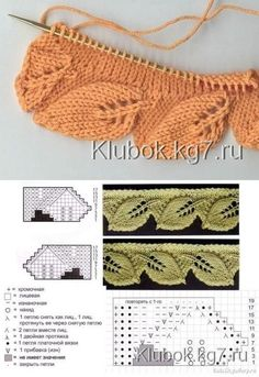 If you looking for a great border for either your crochet or knitting project, check this interesting pattern out. When you see the tutorial you will see that you will use both the knitting needle and crochet hook to work on the the wavy border. Lace Knitting Patterns, Knitting Stiches, Knitting Charts, Lace Patterns, Free Knitting, Crochet Stitches, Baby Knitting, Stitch Patterns, Crochet Edgings