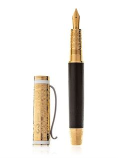 Limited Shakespeare Gold Fountain Pen http://www.shopstyle.com/action/loadRetailerProductPage?id=464763845&pid=uid1209-1151453-20