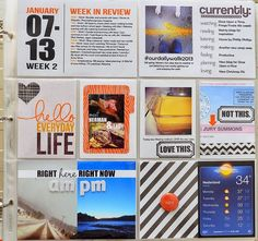 Project Life Wednesday: Right Here, Right Now Project Life 6x8, Project Life Freebies, Project Life Scrapbook, Project Life Layouts, Pocket Page Scrapbooking, Scrapbooking Ideas, Life Page, Book Projects, Journal Cards