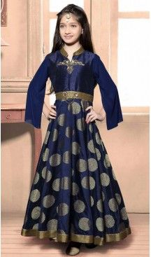 Nevy Blue Color Banglory Silk, Jacquard Fabric Readymade Kids Girl Gowns | FH00011011 #kidsgowns #kidswear #gownstyle #allthingsbridal #bridalsuits #ethnicfashion #celebrity #bollywooddesigns #bollywoodsuits #partywear #collection #wedding #womenswear #kuwait #luxerydress #princess #kidsdesigner #robedeprincesse #anniversaireenfant #vestitibambini #Turkey #istanbul #couturekidsclothes #kidstrends #heenastyle @heenastyle