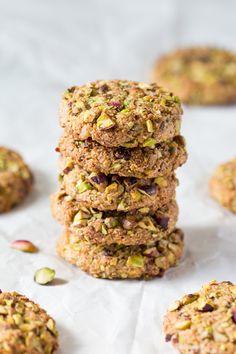 vegan flourless pistachio cookies stack