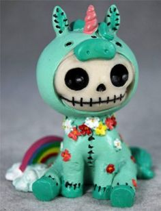 Furrybones Unie The Rainbow Unicorn Skull Skeleton in Costume Figurine | eBay