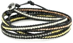 """Chan Luu Multi Plated and Silver Bead Black Leather Wrap Bracelet Chan Luu. $150.00. 32"""" length allows you to wrap the bracelet around your arm up to 5 times. Made in VN. Made in Viet Nam. Save 32% Off!"""
