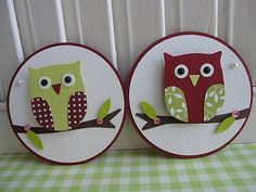 https://flic.kr/p/7krHeD | Cute Red Green Owl Embellishments | Handmade by me..