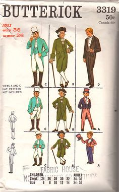 1960s Butterick 3319 Mens Costume Pattern  Bicentennial, Ringmaster, Uncle Sam, George Washington mans vintage sewing pattern, by mbchills