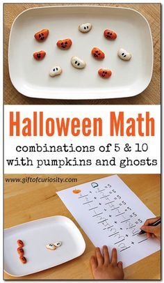 Halloween math: This is a clever, Halloween-inspired way to help kids learn combinations of 5 and 10 and practice basic addition. What a cute idea for October! Math Activities For Kids, Halloween Activities For Kids, Fun Math Games, Preschool Math, Kids Learning, Teaching Math, Monster Activities, Montessori Math, Kindergarten Learning